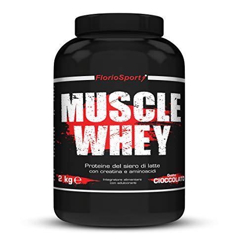 FlorioSport, Muscle Whey, 2 Kg Proteine del Siero Latte con Creatina Taurina Aminoacidi Per la crescita ed il mantenimento della massa muscolare (Biscotto)