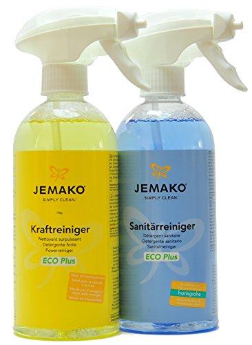 Jemako Reiniger-Set - Kraftreiniger ECO Plus 500 ml & Sanitärreiniger ECO Plus 500 ml - inkl. 2 Schaumpumpen