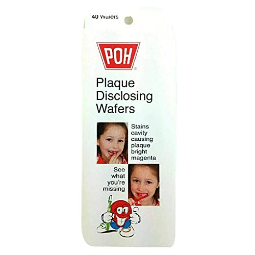 POH Plaque Disclosing Tablet Wafers For Kids - 40 Count, Cherry Flavor - Plaque Remover