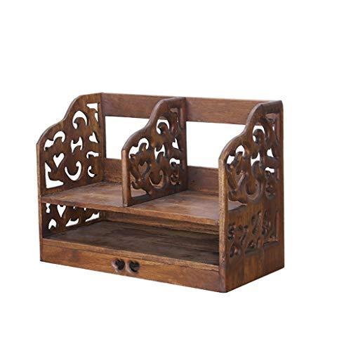 XYZMDJ Caja de almacenamiento retro de madera maciza de escritorio Rack de almacenamiento de mesa simple estante de libro estantería de oficina estante de madera