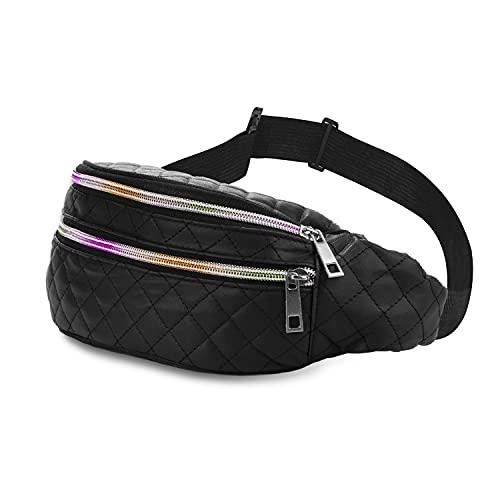 Riñonera Mujer - Estilo Urban - Moda para Viaje, Deporte o Fiesta - Correa Ajustable para Cintura o Bandolera - Cremalleras Arcoiris – Acolchada Impermeable - 27x10x10 cm (Negro)