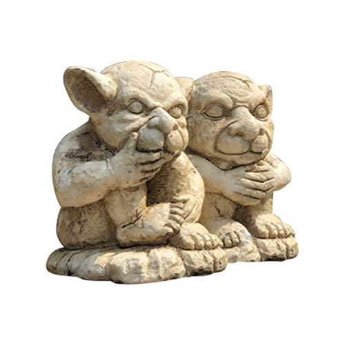 RUIXINLI Decoraciones de jardín Estatua al Aire Libre de los Animales Juego de 2 Pixies Defender Las Figuras estatuas Adornos de jardín Figuras Duende