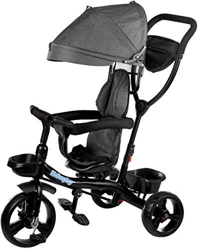 Dreirad Kinderdreirad Kinder Lenkstange Fahrrad KP0567GRY Baby Kinderwagen Neu Sonnendach