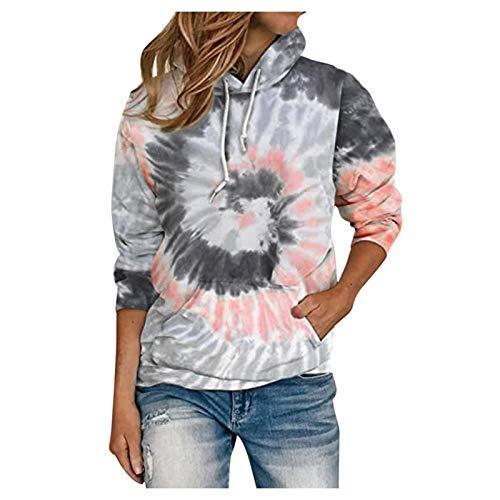 Bluza z kapturem New Plus Size damska bluza z nadrukiem Tie-Dye Tops długi rękaw dekolt O ubranie S -2XL XL różowy