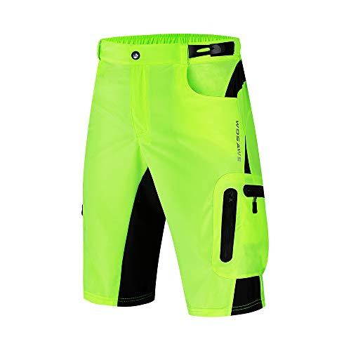 WOSAWE Pantaloncini MTB Uomo Loose-Fit Traspirante Ciclismo Bicicletta 1/2 Pantaloni per Sport Leisure (BL132 Verde XXL)