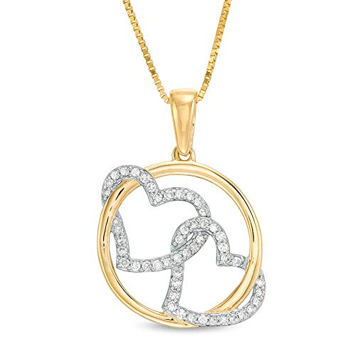SLV 1/2 CT. T.W. Round Cut D/VVS1 Diamond Interlocking Circle And Double Heart Pendant In 10K Yellow Gold Plated 925
