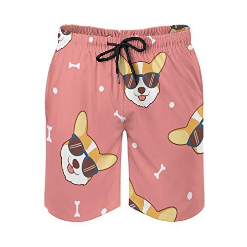 QUEMIN Corgi - Pantalones cortos de playa con cordón para hombre, diseño de cara de perro con gafas de sol, forro de malla de secado rápido con bolsillos