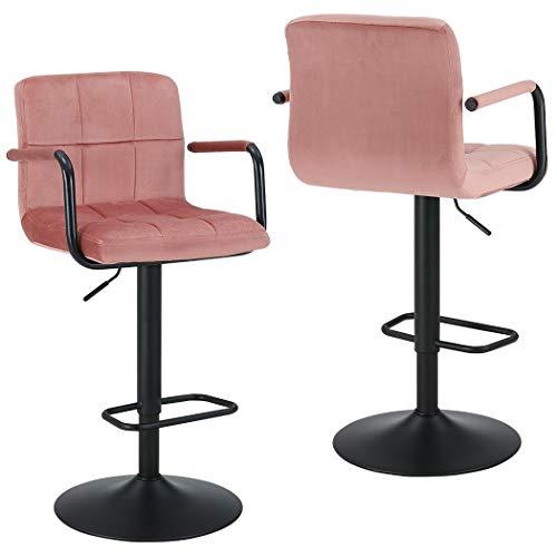 Duhome 2er Set Barhocker Stoff Samt Rosa Pink Barstuhl mit Lehne Farbauswahl höhenverstellbar drehbar Tresenhocker 451U