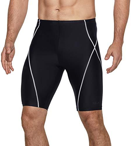 TSLA Men's Swim Jammers, Athletic Racing Swimming Shorts Trunks, UPF 50+ Sun Protection Endurance Triathlon Swimsuit, Color Line(msj02) - Black & White, 32