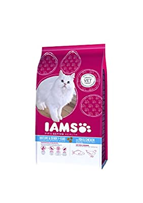 Iams Proactive Health Complete and Balanced Senior Cat Food with Ocean Fish and Chicken, 2.55 kg