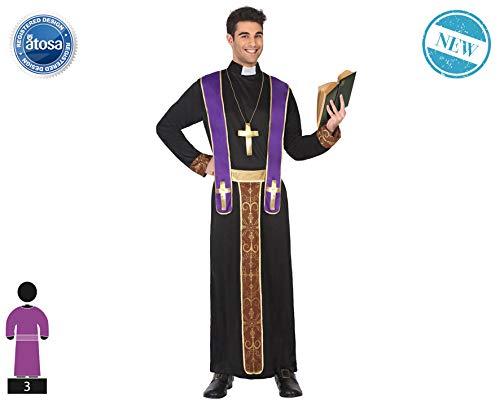 Atosa-62722 Atosa-62722-Disfraz Obispo-Adulto XL- Hombre- negro, Color (62722) , color/modelo surtido