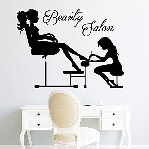 Mode Schönheit Salon Mädchen Frau Vinyl Wandaufkleber Wandbild für Salon Shop Dekoration Nagelstudio anpassbare Farben 43cm X 64cm