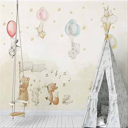 FangXUEPING Gebruikergedefinieerde kinderen cartoon schattige dieren ballon behang voor muren 3D muurschilderijen foto muurpapier voor kinderkamer achtergrond wooncultuur Breite 250cm * Höhe175cm Pro
