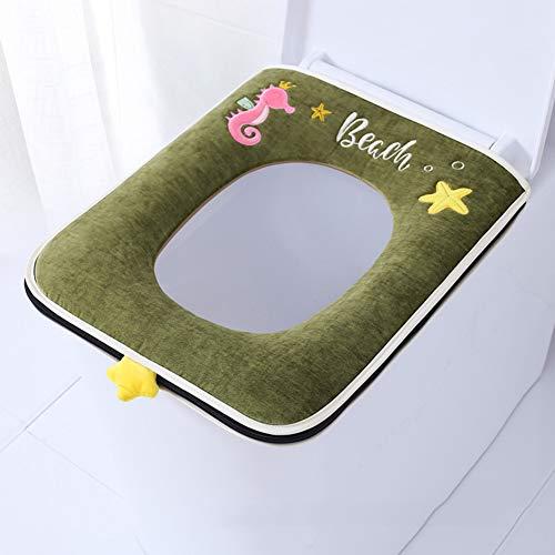 XGXQBS Toiletbril, vierkant, wasbaar, Closestool Warmer Mat 44x37cm(17x15inch) Groen