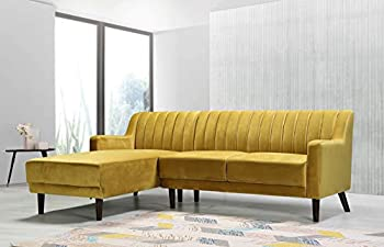 Container Furniture Direct Liberty Mid Century Velvet Upholstered Left Facing Sleeper Sectional 89.36  Strong Yellow
