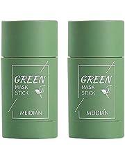 2 stuks groene thee-purifying Clay Stick masker oliecontrole gezichtsmasker, stick diep reinigend anti-acne-masker fijn solide masker groene tea, aubergines mee-eterverwijderaar gezichtsmasker poriën krimpen