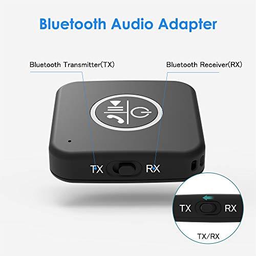 Adaptador Bluetooth V5.0 Aux Transmisor Bluetooth Receptor Bluetooth 2 en 1 Manos Libres con Adaptador de Audio Inalámbrico 3.5mm AUX Cable para TV, Altavoz Estéreo Portátil Auriculares miniatura