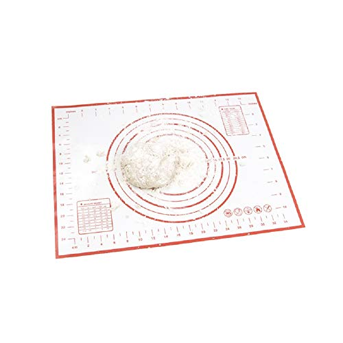 Large Silicone Pastry Mat Extra Thick Non Stick Baking Mat with Measurement Fondant Mat, Counter Mat, Dough Rolling Mat (Red)
