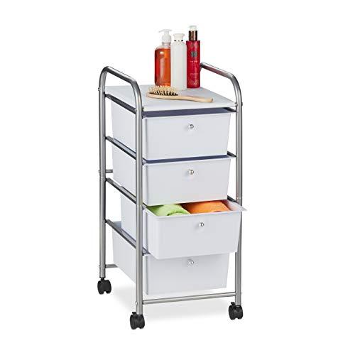 Relaxdays Carrito 4, Metal y plástico, cajón con Ruedas, para baño, cosméticos, Dimensiones: 74 x 33 x 39 cm, Color Plateado, Plata