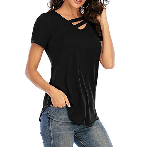 Raspbery Mujeres Casual de Verano en V Cuello de Manga Corta Capa Cruzada Camiseta Tops Suave cómodo para Damas Qualified