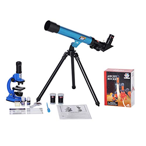 IDS Home Eastcolight Deluxe Microscope and Telescope Set for Kids Begainers, Science Educational Toys, Biological Chemistry Lad Kits with Air Jet Rocket Assembly Toys for Kids