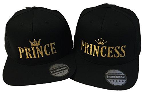 Nashville print factory Snapback Bestickt mit Motiv Krone/Prince/Princess in Goldener Schrift Stickerei Partner-Cap für Sie & Ihn (Prince & Princess)