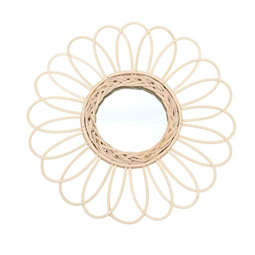 BWCGA Espejo para colgar en la pared, girasol, girasol, círculo redondo, espejo de maquillaje, para baño en casa, sala de estar, hotel