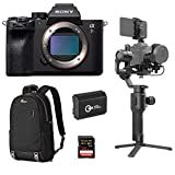 Sony a7R IV Mirrorless Digital Camera Body - Bundle with DJI Ronin-SC Gimbal Stabilizer Pro Combo, 128GB SDXC Memory Card, Lowepro m-Trekker BP 150 Backpack Nylon Black, Spare Battery