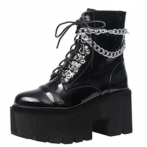 COCOLULU Damen Plateau Stiefeletten Gothic Blockabsatz High Heels Punk Stiefel mit sSchnürung und Reißverschluss(EU Size 40, Schwarz)
