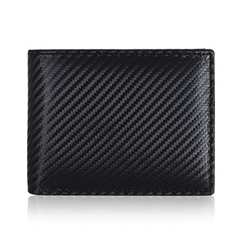 Amazon Brand - Eono Portafoglio in pelle per uomo e donna - design piatto con funzione di protezione lettura RFID (Nero Carbon)