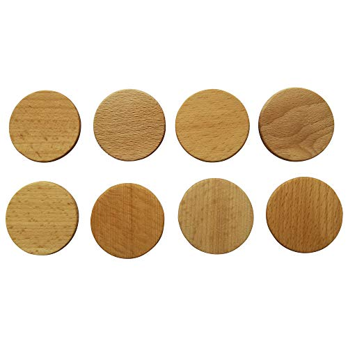 Magnetic Buttons Set of 8 – 1 ½ Inch Wooden Magnets for Paper Holding – Handcrafted Wood Circle Magnets – Beeswax and Orange Oil Finish – Ideal for Home Fridge Office