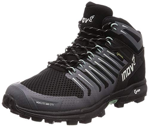 Inov-8 Womens Roclite 345 GTX - Waterproof Gore Tex Hiking Boots - Lightweight - Vegan - Mid Boot Fit - Black/Green M7.5/ W9