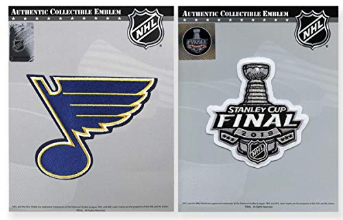 National Emblem St. Louis Blues Primary Logo and 2019 Stanley Cup Patch Bundle (2 Patches)