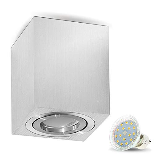 Milano–Lungo-GU10230V LED con 4W faretto a LED (300lm), Bianco caldo [] lampada cubo lampada da soffitto plafoniera in alluminio Spot moderno Quadrat/Silber