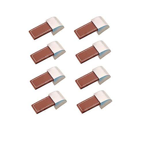 Möbelgriffe, für Schrank, Schubladen, Türen, Schrankgriffe, Schrankgriffe, Schrankgriff, Metall, Leder, 8 Stück (Single hole, braun)