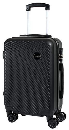CABIN GO 5508 Valigia Trolley ABS, bagaglio a mano 55x37x20, Valigia rigida, guscio duro e antigraffio con 8 ruote, Ideale a bordo di Ryanair, Alitalia, Air Italy, easyJet, Lufthansa NERO