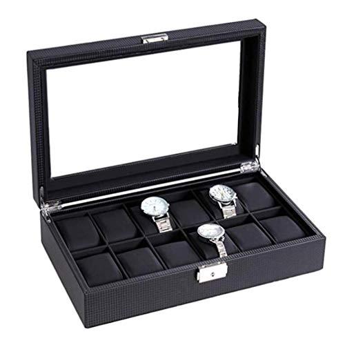 NBVCX Inicio Accesorios Caja de Almacenamiento de Relojes Caja de Reloj 12 Rejillas Organizador de exhibición de Reloj para Hombre Cuero de Fibra de Carbono