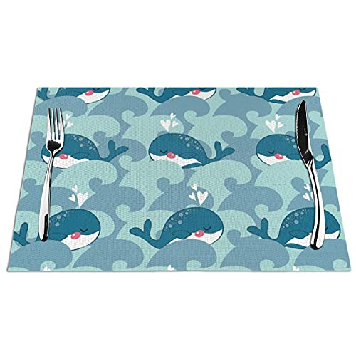 WONDIYA - Manteles individuales lavables, resistentes al calor, antideslizantes, diseño de ballena azul