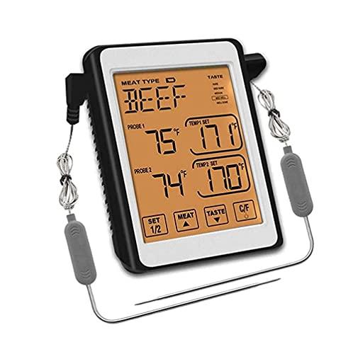 SMSOM Termómetro de carne de cocción digital de doble sonda LCD grande LCD Luz de retroiluminación Termómetro Termómetro táctil Termómetro de alimentos con Modo Temporizador para Horno de Cocina Smoke