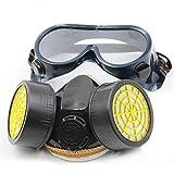 Máscara anticorrosión de Heaviesk Cartucho doble Máscara anticorrosión Pintura de seguridad química Filtro de gas respirador con gafas Equipo de seguridad industrial
