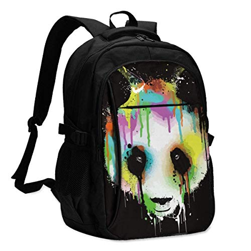 XCNGG Panda Paint Art Travel Laptop Backpack College School Bag Casual Daypack with USB Charging Port