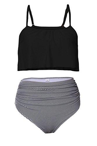 DarkCom Dames Bikini Set, Twee Stuks Badpakken met Hoge Taille Halter Flounce Ruffled Dames Zwemmen Strand Badmode