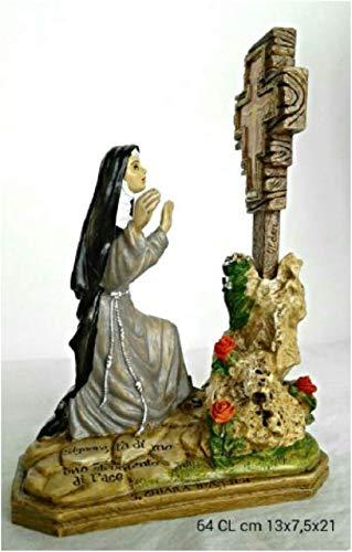 S. Chiara e Il Crocifisso - Statua in Resina e Polvere di Marmo - 13x7,5x18 cm