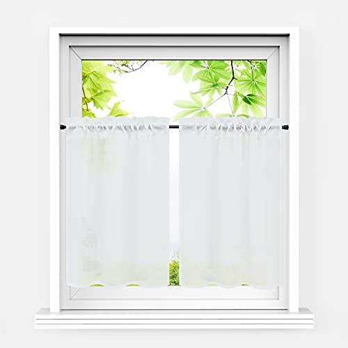 Heichkell Scheibengardinen 2er Set Kurzstores Landhausstil Halbtransparente Bistrogardine Leinenoptik Kleinfenster Gardinen Küche Weiß BxH 66x61 cm*2