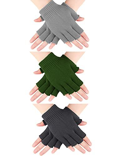 3 Guantes sin Dedo de Invierno Punto (Gris Oscuro, Gris Claro, Verde Militar)