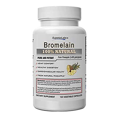 Superior Labs ? Best Bromelain Non GMO Natural Supplement ? Non-Synthetic ? 2,400 gdu/Gram ? Supports Healthy Digestion & Inflammatory Responses, Bruises, Immune ? Extra Strength ? 500 mg, 120 VCaps