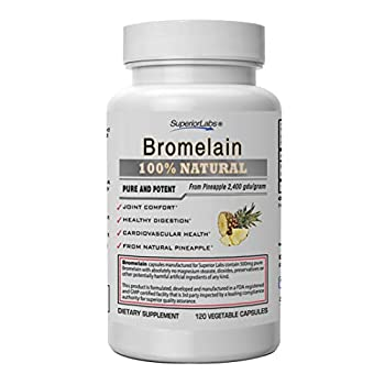 Superior Labs – Best Bromelain Non GMO Natural Supplement – Non-Synthetic – 2,400 gdu/Gram – Supports Healthy Digestion & Inflammatory Responses Bruises Immune – Extra Strength – 500 mg 120 VCaps