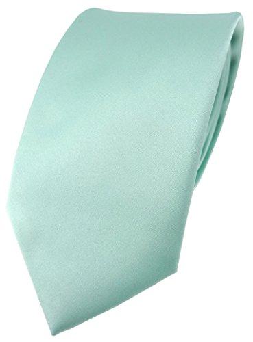 TigerTie hochwertige Satin Krawatte in mint grün Uni einfarbig - Schlips Binder Tie