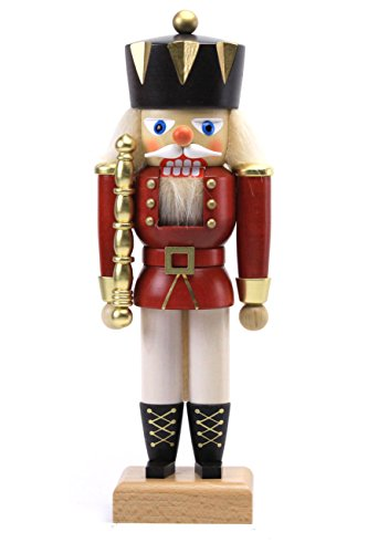 German Christmas Nutcracker King red - 27,5 cm / 11 inches - Authentic German Erzgebirge Nutcrackers - Christian Ulbricht