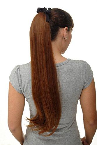 WIG ME UP ® - extensión de pelo coleta con peineta y banda pelo largo liso castaño cobrizo 65 cm D13001-30